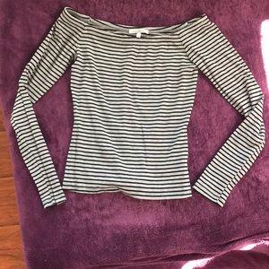 Grey with Black Stripes Off Shoulder Top